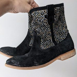 Dune London Suede Studded Boots Black Size 6